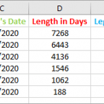 Excel/G-Sheets - Calculate the Amount of Time Between Two Dates